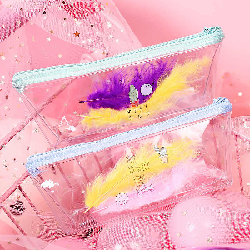 1 Pcs Kawaii Pencil Case Feather Transparent PVC Estuches School Pencil Box Pencilcase Pencil Bag School Supplies Stationery