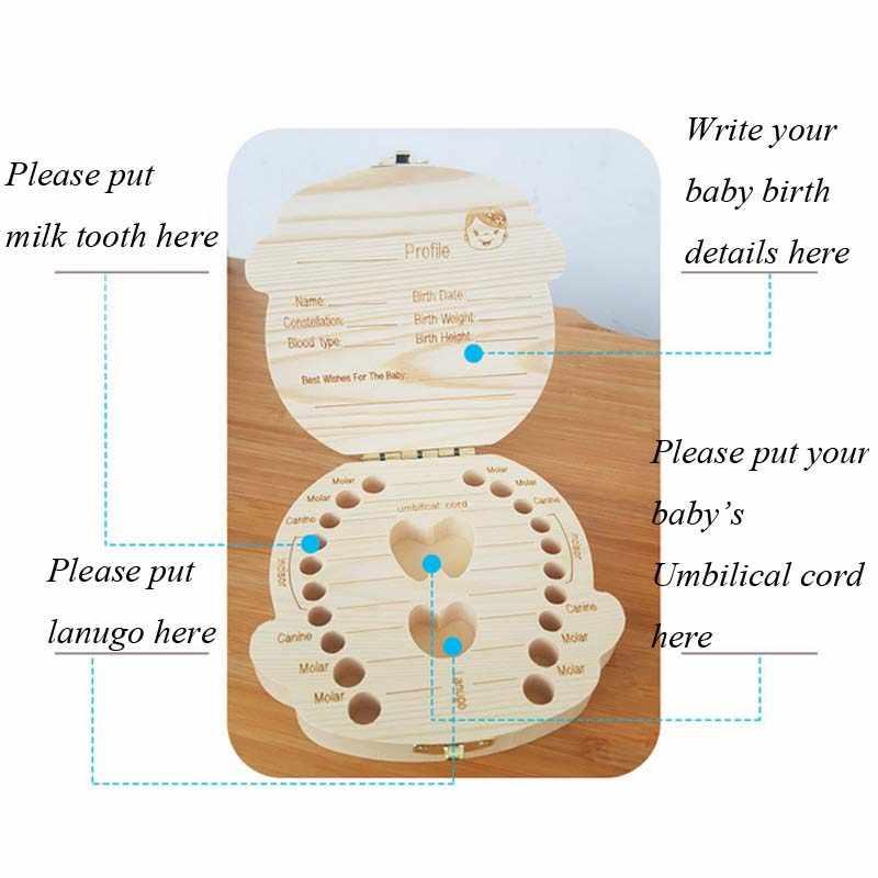 HUNYOO NEUE Holz zahn box baby kind zahn box lagerung box baby milch zahnstocher lagerung box Spanien und Englisch fall