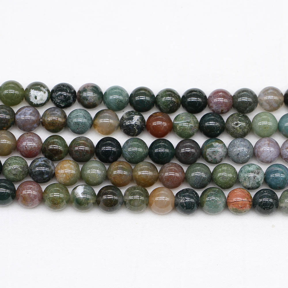 Beads Jewelry & Accessories 1strand/lot 4/6/8/10/12mm Natural Stone Indian Agates Bead Round Loose Spacer Beads For Jewelry Making Findings Diy Bracelet Regular Tea Drinking Improves Your Health
