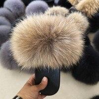 Real Plus Fox Hair Flip Flop Slippers Slides Women's Summer Fox Fur Sandals High Quality Casual Shoes