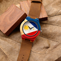BOBO de AVES K03 Nueva Llegada Naturaleza Bambú Relojes Para Hombre Superior marca UV Impresión de La Bandera de Filipinas de la Caja de Reloj de Cuero Suave banda