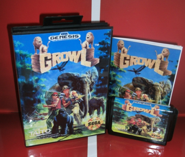 Growl - MD Game Cartridge with box and manual for 16 bit Megadrive Genesis console