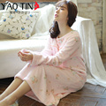 Autumn and winter female plus size thickening coral fleece nightgown autumn and winter long-sleeve sleepwear flannel loose sweet