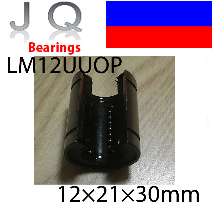 JQ Bearings 8pcsLot LM12UUOP 12mm Open Type Linear Ball Bearing 12x21x30 mm Linear Bearing Bushing Linear Motion Bearing