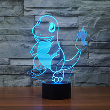 New Pocket Monster Charmander Lampe 3D Led Baby Night Light 7 Colors Touch Changing Kids Bedroom Decor USB Led Lamp