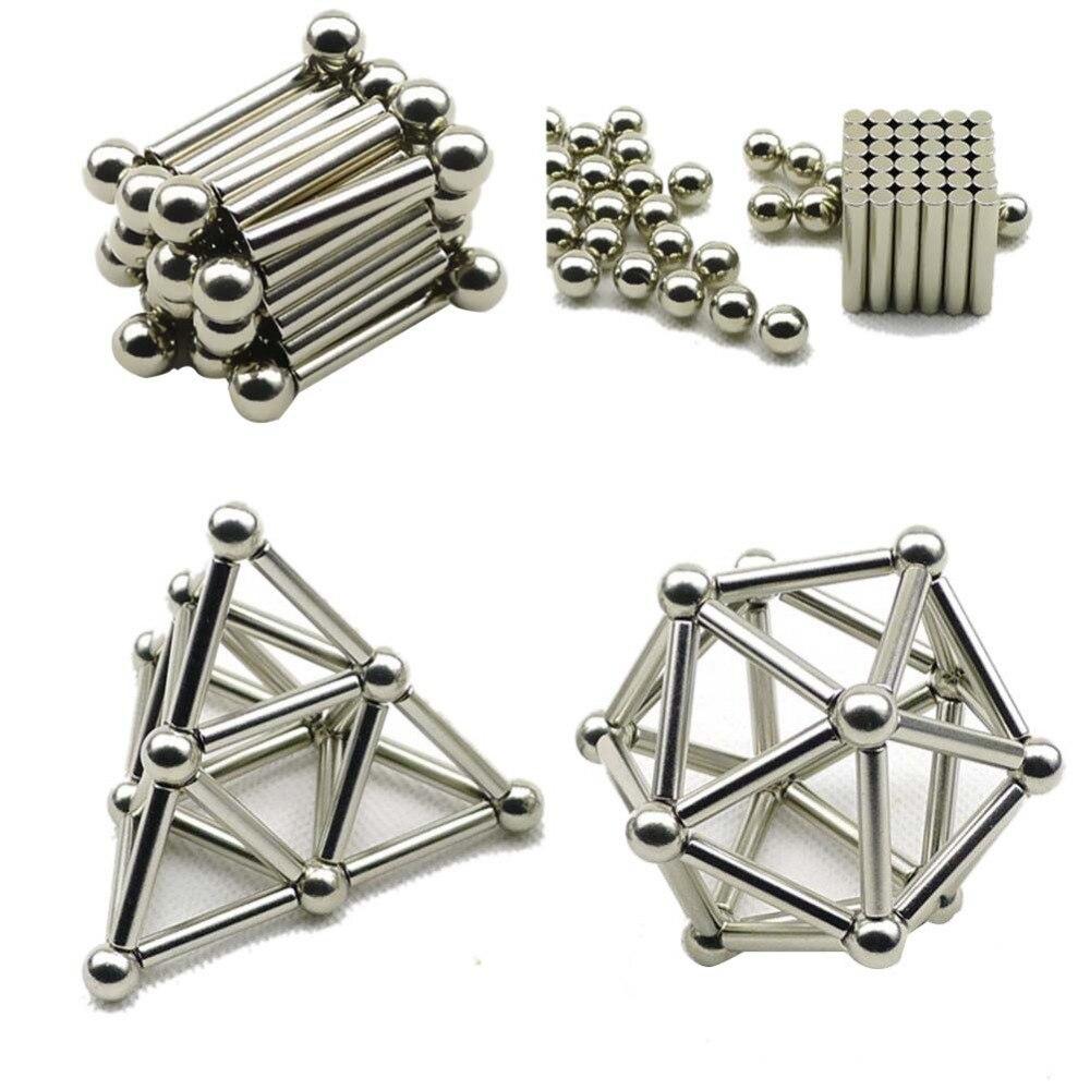Juguete del rompecabezas edificio Set 36 piezas palos magnéticos y 27 piezas de bolas de acero juguete