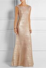 Golden stretch self-cultivation elegance luxurious celebrity Bandage long dress