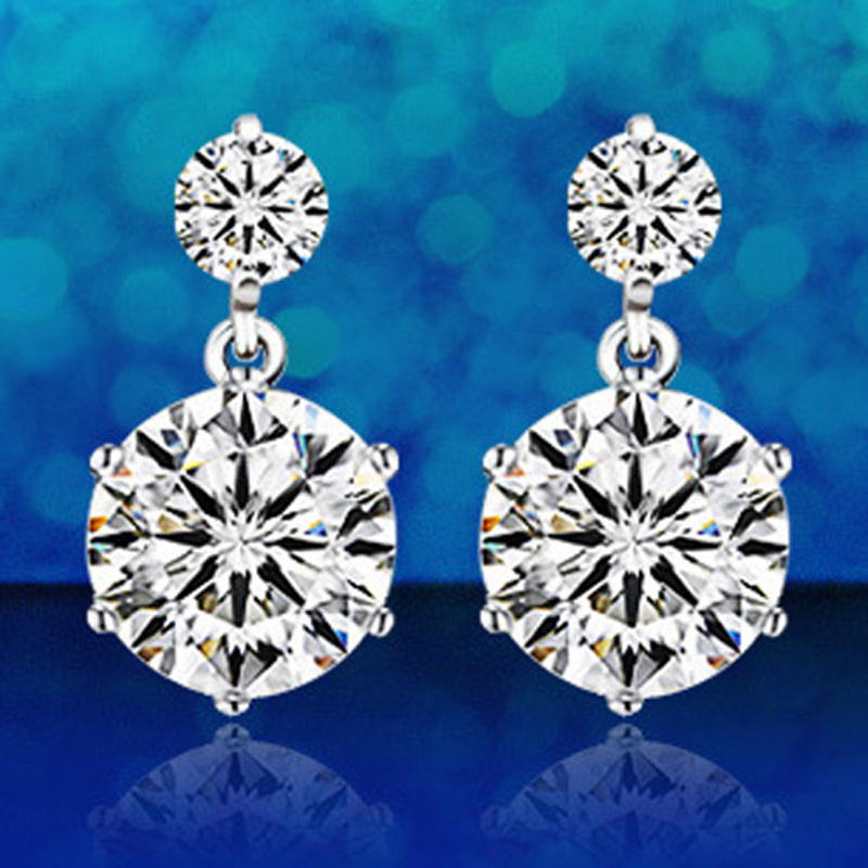 Wholesale Fashion Jewelry Silver Plated Plated Crystal Round Ear Stud Earrings Ear Rings Pendant C07
