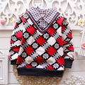 Мода Мальчиков зима осень Свитера Хлопка толщиной теплый бархат Верхняя Одежда С Длинным Рукавом дети Кардиган рубашку свитер