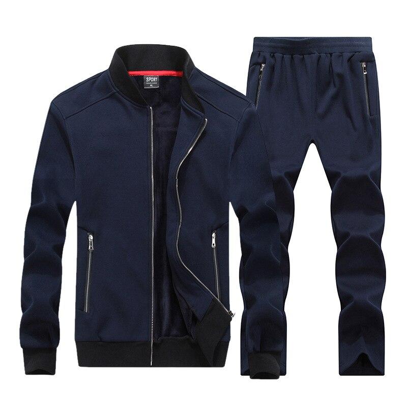 2019 новый осенне-зимний мужской спортивный костюм с капюшоном куртка + брюки спортивный костюм из двух предметов спортивный костюм толстая м...