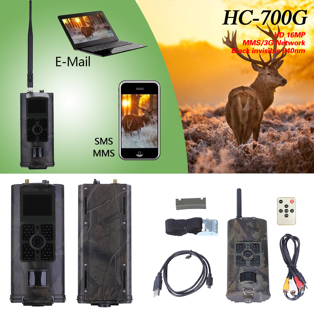 HC-700G Hunting Camera 3G GPRS MMS SMTP SMS 16MP 1080P 120 Degrees PIR 940NM Infrared Wildlife Night Vision Trail Cameras Trap simcom 5360 module 3g modem bulk sms sending and receiving simcom 3g module support imei change