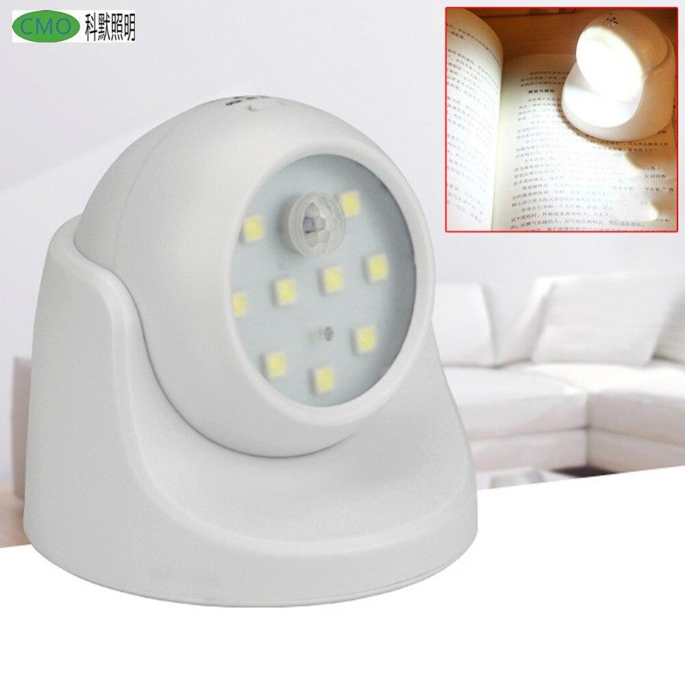 Движения Сенсор 9 LED Бусины ночник 360 градусов вращения Беспроводной Авто ПИР ночь настенный светильник для Для детей