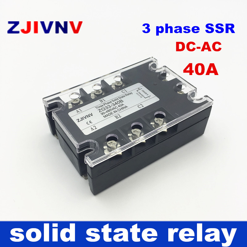 цена на 40A 3 phase SSR solid state relays DC control AC 3-32vdc to 90~480vac relay solid three phase 40a ssr 40DA