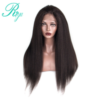 kinky Straight Full Lace Human Hair Wigs For Women Brazilian Human Hair Wigs Remy Natural Black Color With Baby Hair