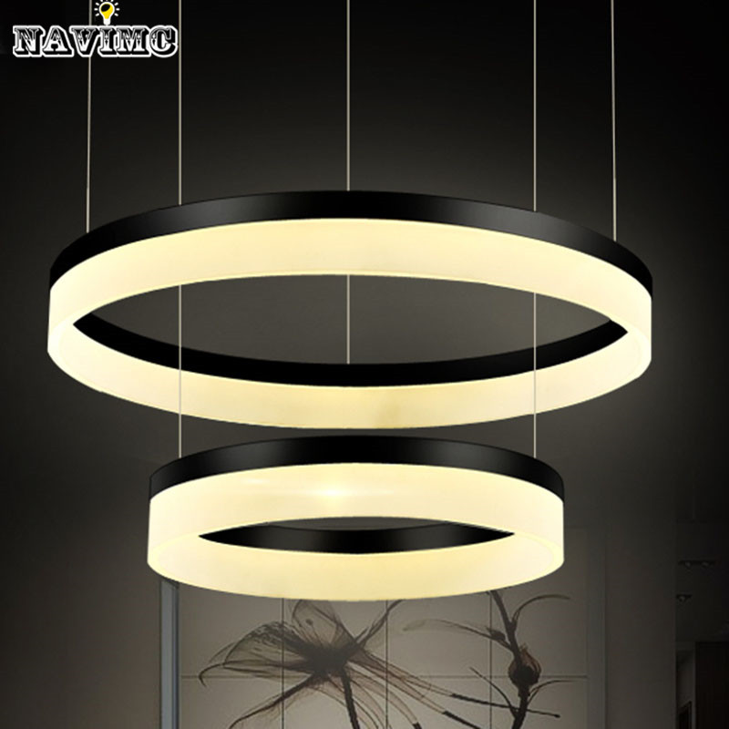 New Modern Led Chandelier Acrylic Round Light Fixture Diy Style Wire Adjule Lamp For Hotel Living Dining Room In Chandeliers From Lights