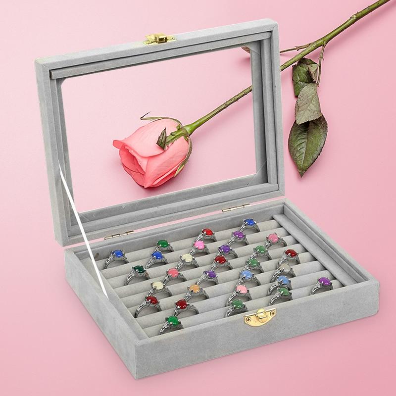 2018 gris 8 cabinas terciopelo estuche con cubierta de vidrio anillo exhibición de la joyería caja del sostenedor de la bandeja caja de almacenamiento organizador
