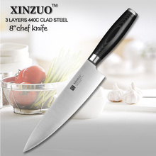 XINZUO 8 inch chef knife 440C clad steel kitchen knife melon knife super sharp knife kitchen tool micarta handle free shipping