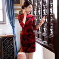TIC-TEC chinese traditional dress women cheongsam short qipao vintage red slim elegant oriental dresses wedding clothes P2903