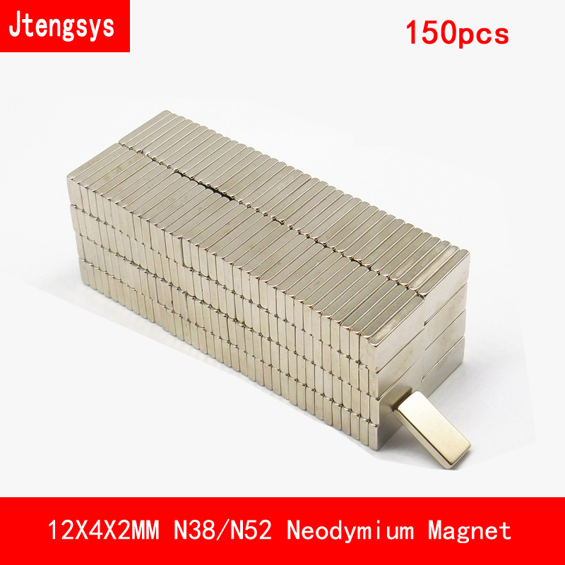 Jtengsys 150 PCS 12*4*2mm N38 N52 Strip strong permanent Neodymium Magnet surface paint nickle