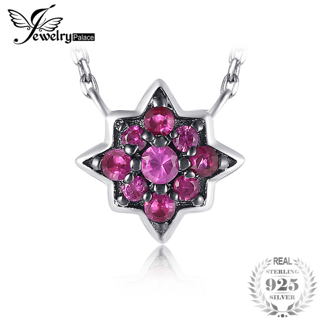 0.2ct Created Ruby Flowers Necklace With Chain