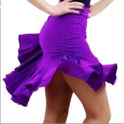 Для женщин латинская юбка для танцев бальный Танго Самба Чача Сальса Танцы платье Девушки Черный Фиолетовый рюшами Практика Короткая юбка