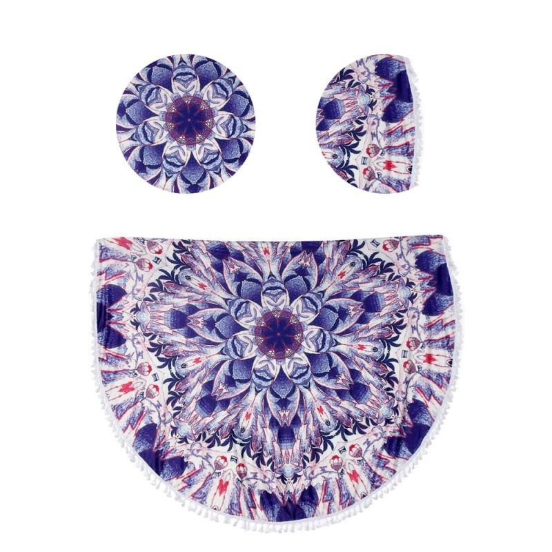 7 Colors Round Beach Mat Tapestry Mandala Round Blanket Summer Beach Towel Skirt Diameter 150 cm Printed Tassel