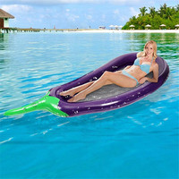 Inflatable Eggplant Swimming Ring Circle Water Bed Outdoor Swimming Pool Float Ring Beach Toys