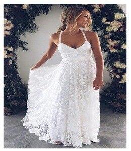 Image 2 - LORIE Halter ลูกไม้ชุดแต่งงานชายหาด 2019 Elegant Line Backless ความยาวสีขาวงาช้างลูกไม้ชีฟองกับ Sashe เจ้าสาวชุด