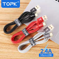 TOPK AN01 Ultra Durable Nylon Braided Wire Metal Plug Data Sync Charging Data Micro USB Cable for Samsung Xiaomi Huawei HTC