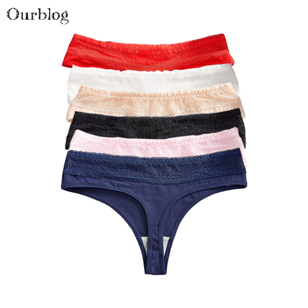 OURBLOG 5pcs/lot Womens Sexy G-strings Thongs Girl Briefs Woman Cotton Underwear Lingerie Ladies Tangas T-back   Panties   M L XL