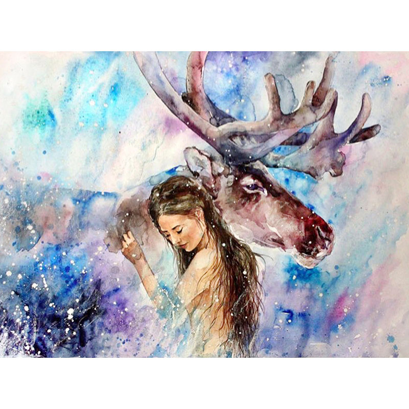 Abstract Animal Diamond Embroidery 5D Painting Cross Stitch Deer With Home Decoration Christmas Gifts