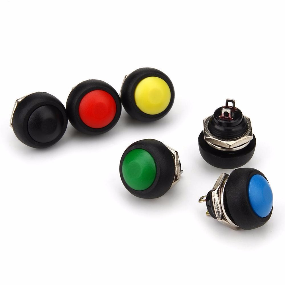 12mm Waterproof Momentary ON/OFF Push Button Mini Round Switch 1A 250V tws mini bluetooth earphones wireless headset stereo headphones sport earbud earphone with mic for phone xiaomi