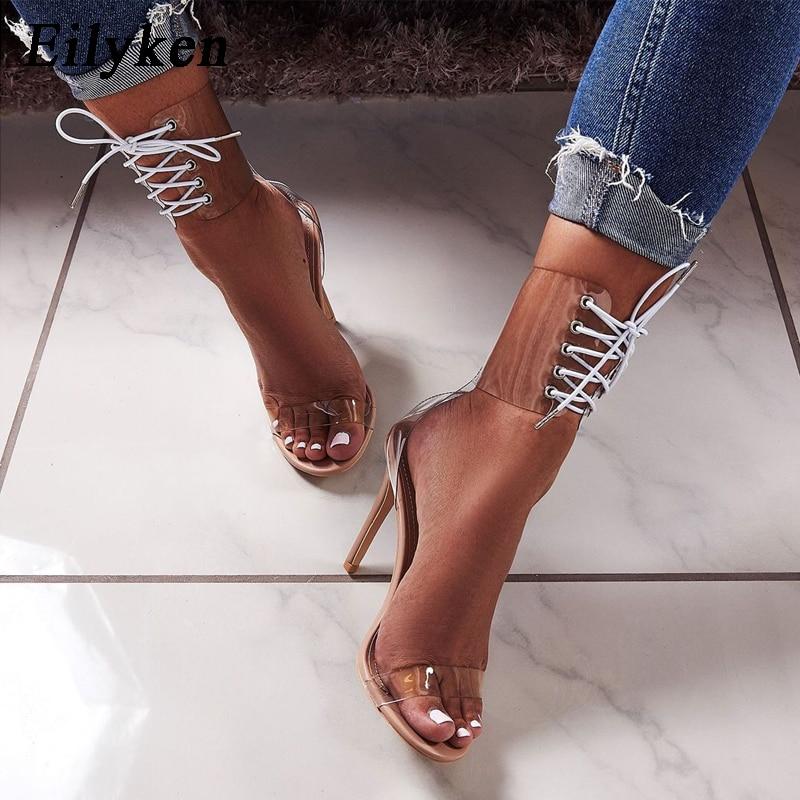 Eilyken 2019 PVC Jelly Lace Up Sandals Open Toed High Heels Sexy Women Transparent Heel Sandals Innrech Market.com