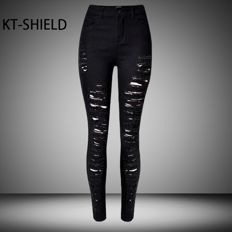 Black jeans women skinny elastic casual Female Holes Ripped boyfriend jeggings Leggings High waist Cotton Denim