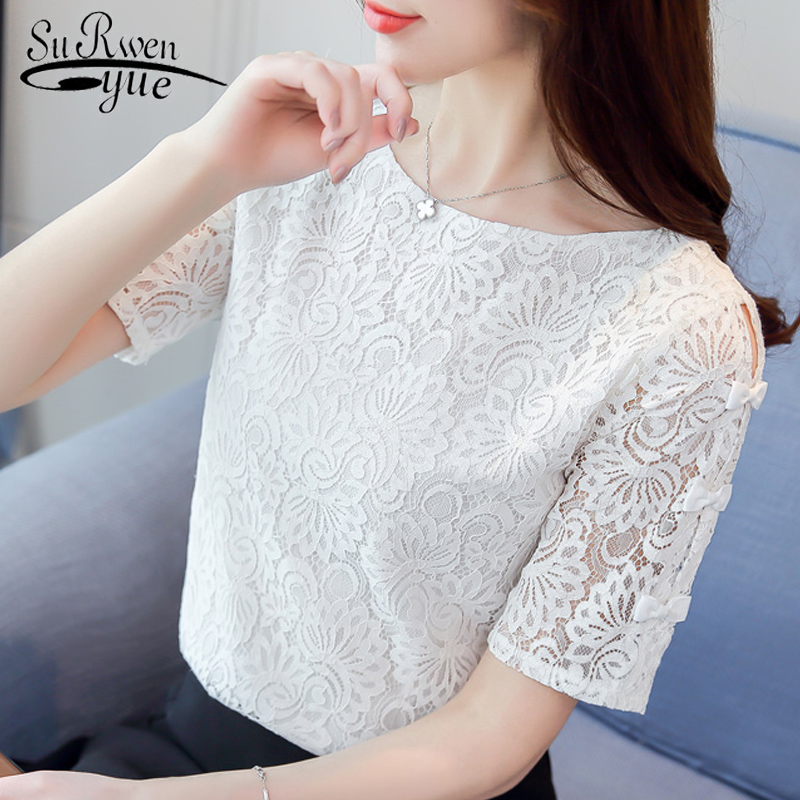 Fashion women blouses 2018 summer short sleeve ladies tops hollow Lace women blouse shirt Female Tops Blusas femininas 0361 40