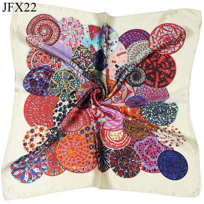 Small Square 40% Natural Silk Women Scarves Luxury Brand Carriage Chain Horse Woman Neck Scarf for Bags Bandana Hijab 60*60cm