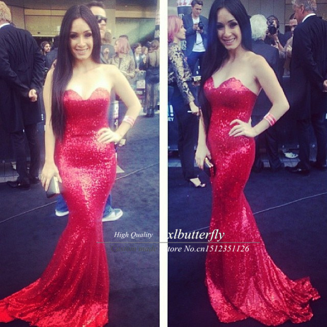 Sparkling Sexy Jessica Rabbit In Red Sequined Celebrity Dresses Prom