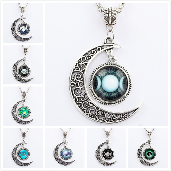 Triple Moon Goddess Pendant Pentacle Planet Necklace Wiccan Jewelry Glass Dome Silver Chain Hollow Pattern Necklaces locket