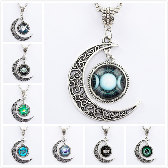 Triple moon goddess pendant pentacle planet necklace wiccan triple moon goddess pendant pentacle planet necklace wiccan jewelry glass dome silver chain hollow pattern necklaces aloadofball Choice Image