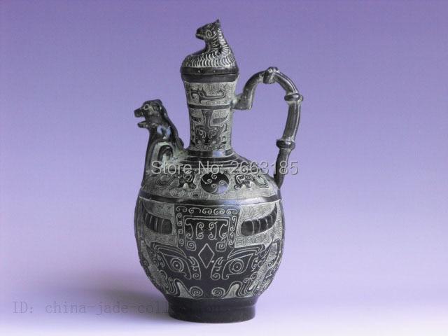 Zarte Dekoration Chinesische Antike Nachahmung Bronze Dragon Griff Frosch Mund Topf Top-schreibtisch Crafts Figurine