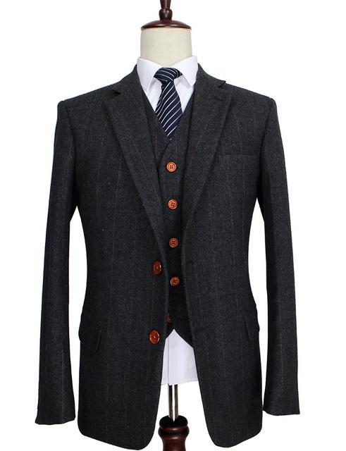2017 de Lã Cinza Escuro Espinha Tweed Sob Medida Ternos de Casamento Slim Fit para Os Homens Retro Estilo Gentleman Terno Dos Homens Feitos Sob Encomenda 3 Peça