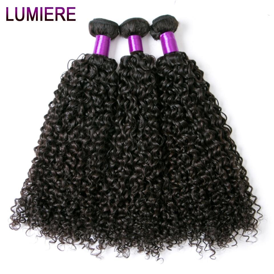 Lumiere Kinky Curly Human Hair Bundles Non Remy Malaysian Hair Weaving Human Hair Extensions Natural Black