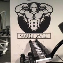 Fitness Wall Decal Muscle Man Mural Art Wall Sticker Health Clud Fitness Centre Decal Bedroom Home Decoration