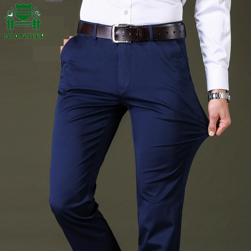 Spring Summer Black Casual Pants Men Cotton Slim Fit Chinos Fashion Men Pants Trousers Male Brand Jogger Clothing Plus Size 42