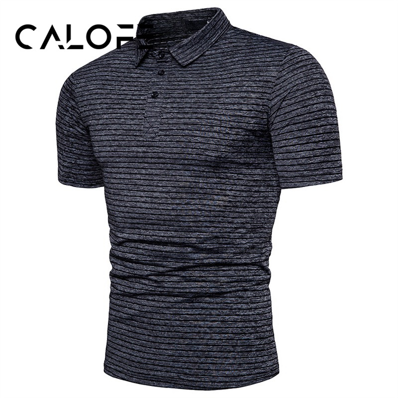 CALOFE Brand New Short Sleeve Tshirts Men Solid Turn-down Collar Golf Tee Shirts Cotton Golf Train Tee Tops Sports Tops
