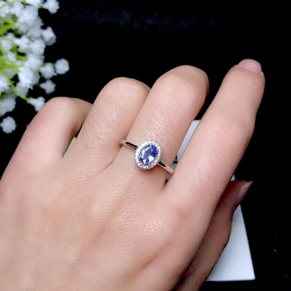Classic Ring, Natural Tanzanite Ring, 925 Sterling Silver, Simple And Exquisite, Lady Ring
