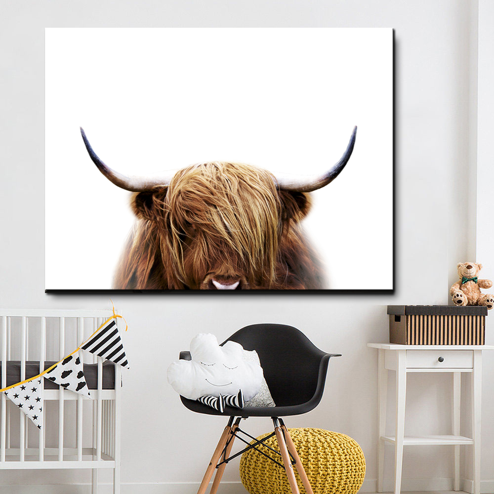 Boy Gifts Nordic Poster Green Leaf Wall Art Canvas Painting Highland Brown Cow Posters And Prints Wall Pictures For Living Room