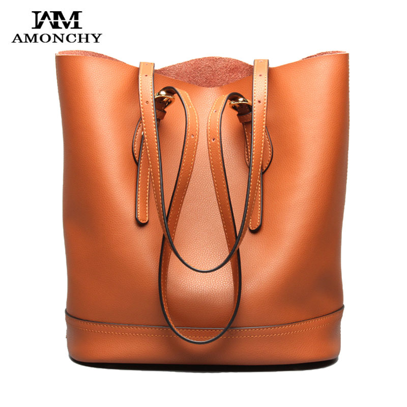 AMONCHY Brand Women Genuine Leather Handbags Natural Skin Bucket Bag Casual Female Shoulder Bags Tote Composite Bag Spring 2018 amonchy 2018 the lastest bucket bag genuine leather women shoulder bags fashion wide strap female messenger bag cowskin handbags