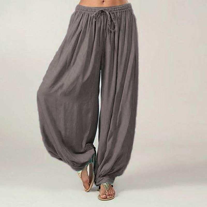 Mujeres Pantalones Ali Baba Aladdin Solido Elastico Afgano Genio Hippie Suelto Baile De Senora D Kompritas