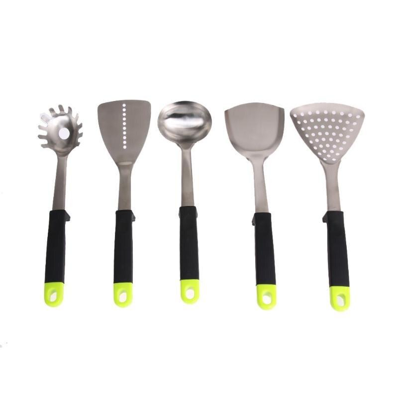 5 pièces Kit acier inoxydable ustensile de cuisine cuisine outils de cuisson ensemble haut de gamme ustensiles de cuisine accessoires de cuisine spatule cuillère